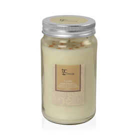 Vanilla Scented Mason Jar Glass Candle with Rare Imperial Topaz (20 CTs)