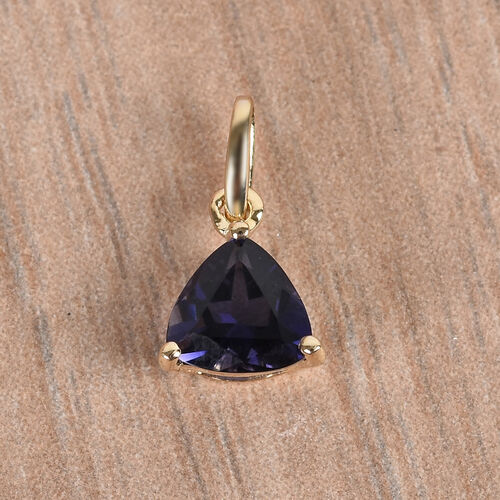 9K Yellow Gold AA Iolite Solitaire Pendant 0.35  Ct.