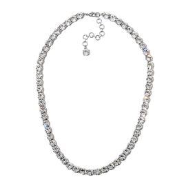 J Francis - Crystal from Swarovski White Crystal (Rnd) Adjustable Necklace (Size 18) in Platinum Pla