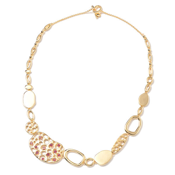 RACHEL GALLEY Pebble Collection - African Ruby Necklace (Size 20) in Yellow Gold Overlay Sterling Si