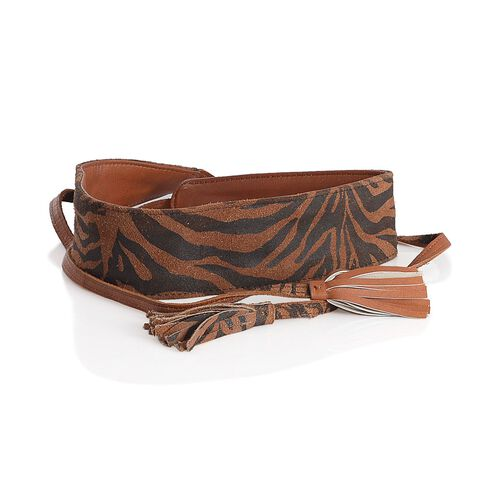 Genuine Leather Zebra Pattern Chocolate and Black Colour Adjustable Waist Belt with Tassels