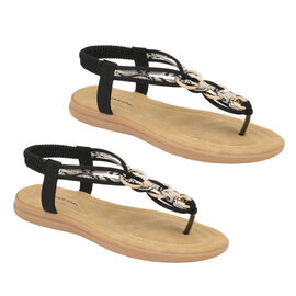 Dunlop Nikita Embellished Toe Post Flat Sandals in Black Colour