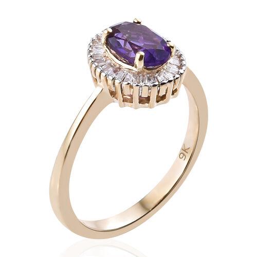 9K Yellow Gold AAA Lusaka Amethyst (Ovl), Diamond Ring 1.000 Ct.