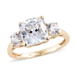 J Francis Made with SWAROVSKI ZIRCONIA Trilogy Ring in 9K Yellow Gold