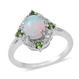 Ethiopian Welo Opal (Ovl 9x7mm 1.42 Ct), Russian Diopside and Natural White Cambodian Zircon Ring in Rhodium Plated Sterling Silver 2.250 Ct.