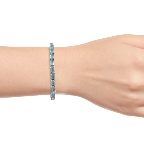 Extremely Rare Grandidierite (Cush6x4mm) Bracelet (Size 7) in Platinum Overlay Sterling Silver 13.50 Ct, Silver wt 12.00 Gms