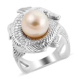 Royal Bali Collection - South Sea Pearl Fish Ring in Sterling Silver, Silver Wt. 8.00 Gms