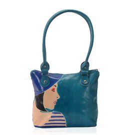 Sukriti 100% Genuine Leather Retro Lady Hand Painted Shoulder Bag (Size 23x6x24 Cm) with Zipper Clos