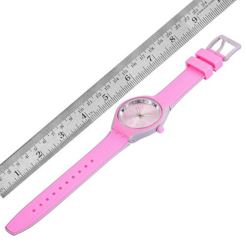 STRADA Japanese Movement Silver Sunshine Dial Pink and Grey Colour Watch with Silicone Strap