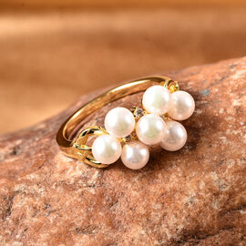 Japanese Akoya Pearl and Natural Cambodian Zircon Ring in Yellow Gold Overlay Sterling Silver