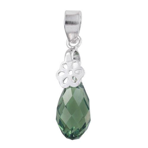 J Francis Crystal from Swarovski - Erinite Crystal Drop Pendant in Platinum Overlay Sterling Silver