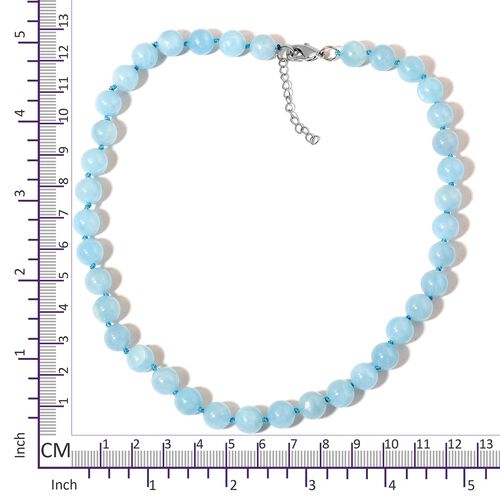 Very Rare Size Espirito Santo Aquamarine Necklace  (Size 18 with 1.5 inch Extender) in Rhodium Plated Sterling Silver 270.000 Ct.