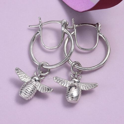 Platinum Overlay Sterling Silver Bee Earrings (with Clasp)