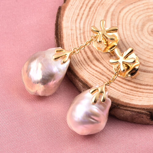 LucyQ - Freshwater Purple Baroque Pearl Earrings (with Push Back) in Yellow Gold Overlay Sterling Silver