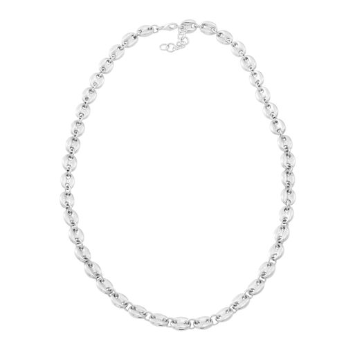 JCK Vegas Collection - Hand Polished Sterling Silver Mariner Link Necklace (Size 20 with 1 inch Exte