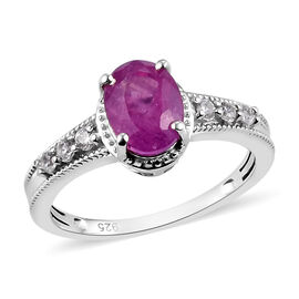 Pink Sapphire and Natural Cambodian Zircon Ring in Platinum Overlay Sterling Silver Ring 2.00 Ct.