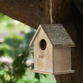 Handmade and Carved Mango Wood Hanging Bird House (Size 21x15.5x25.5 Cm)