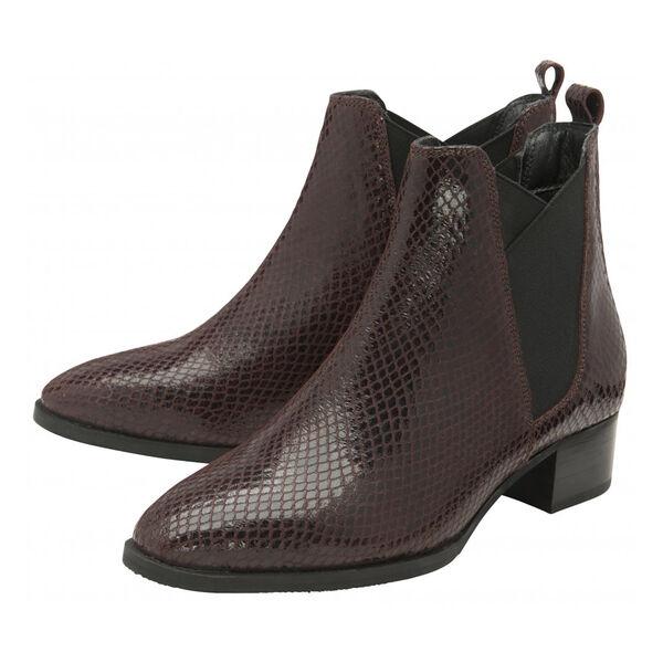 Ravel Bordo Loburn Snake-Print Leather Ankle Boots (Size 3)