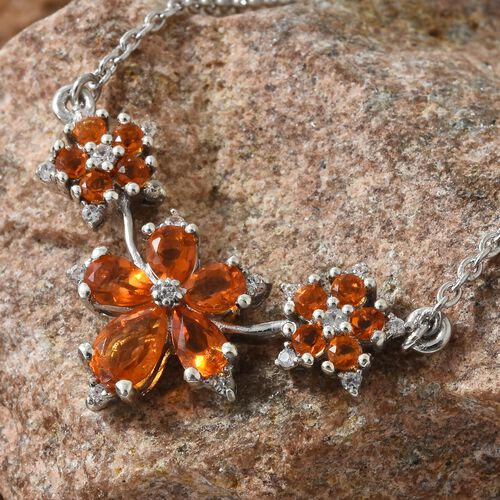 WEBEX- Jalisco Fire Opal (Pear), Natural Cambodian Zircon Necklace with Chain (Size 18) in Platinum Overlay Sterling Silver 1.250  Ct.