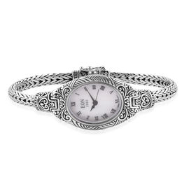 Royal Bali Collection - EON 1962 Swiss Movement Sterling Silver Filigree Tulang Naga Bracelet Watch (Size 8), Metal wt 34.00 Gms.