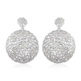 5 Carat Polki Diamond Drop Earrings in Platinum Plated Sterling Silver