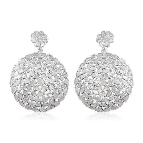 5 Carat Polki Diamond Drop Earrings in Platinum Plated Sterling Silver