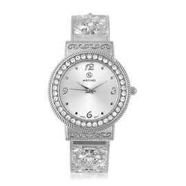STRADA Japanese Movement  Austrian White Crystal (Rnd) Water Resistant Bangle Watch in Stainless Ste