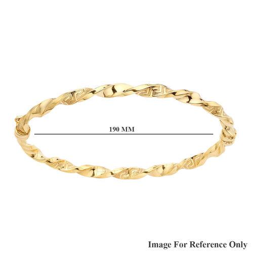 9K Yellow Gold Greek Key Twisted Bangle, Gold wt 4.10 Gms