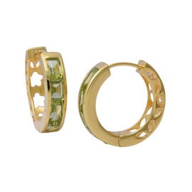 4.50 Ct AA Hebei Peridot Hoop Earrings in Yellow Gold Plated Sterling Silver