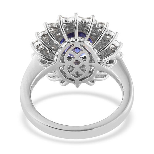 RHAPSODY 950 Platinum AAAA Tanzanite (Ovl 2.65 Ct), Diamond Ring  4.105 Ct, Platinum wt 8.65 Gms.