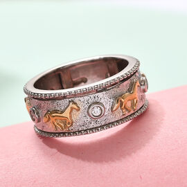 J Francis Platinum and Yellow Gold Overlay Sterling Silver Horse Spinner Ring Made with SWAROVSKI ZIRCONIA, Silver wt. 6.46 Gms