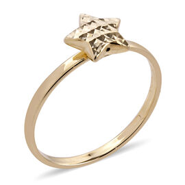 Royal Bali Collection 9K Yellow Gold Diamond Cut Star Ring