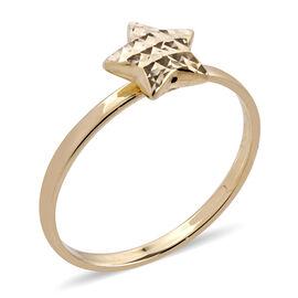 Royal Bali Collection 9K Yellow Gold Diamond Cut Star Ring