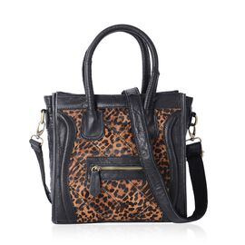 Designer Inspired - 100% Genuine leather - Black and Brown Leopard Print Tote Bag with Detachable Strap ( 32x25x12 Cm)