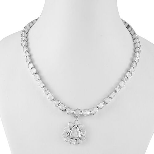 GP Polki Diamond and Blue Sapphire Necklace (Size 18) in Platinum Overlay Sterling Silver 13.03 ct,  Sliver Wt. 42.56 Gms