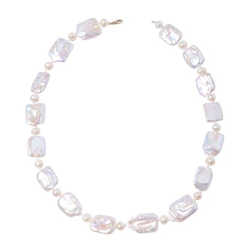 Freshwater White Pearl and Keshi White Pearl Hand Knotted Beaded Necklace in 9K Gold 20 Inch