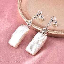 Baroque White Pearl Drop Earrings (with Push Back) in Rhodium Overlay Sterling Silver