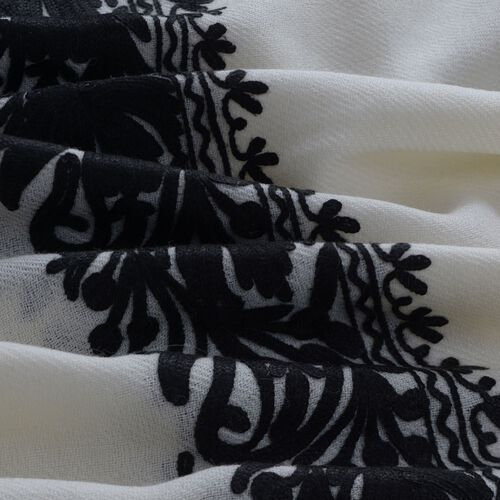 100% Merino Wool Floral and Paisley Pattern Black Colour Embroidered Cream Colour Scarf (Size 190x70 Cm)