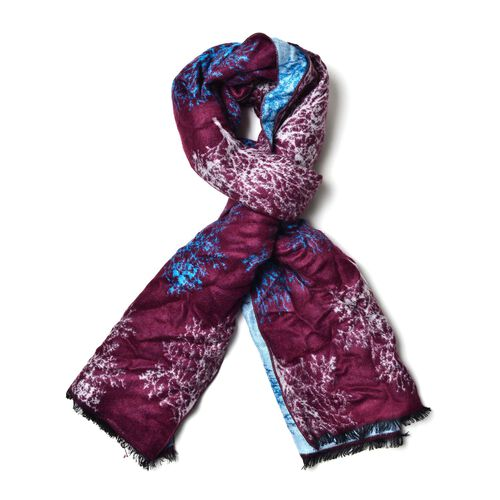Tree Pattern Burgundy And Light Blue Colour Double Sided