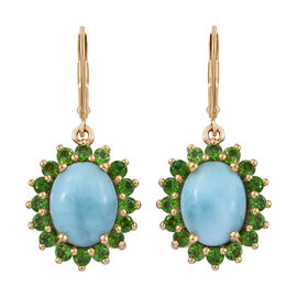 7 Carat Larimar and Russian Diopside Halo Drop Earrings in Gold Plated Sterling Silver