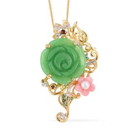 Carved Green Jade, Freshwater Pearl, Russian Diopside and Multi Gemstone Pendant with Chain (Size 18) in Vermeil Yellow Gold and Two Tone Plating Sterling Silver 12.595 Ct, Silver wt 6.15 Gms.