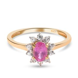 Ruby and Natural Cambodian Zircon Floral Ring in 14K Gold Overlay Sterling Silver 1.00 Ct.