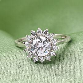 J Francis Platinum Overlay Sterling Silver Ring Made with SWAROVSKI ZIRCONIA