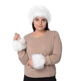2 Piece Set - Faux Fur Headband (Size 10.2x55.9 Cm) and Wrist Warmer (Size 10.2x20.3 Cm) - White
