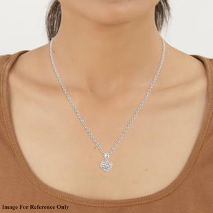 RACHEL GALLEY Rhodium Overlay Sterling Silver Lattice Heart Charm Pendant