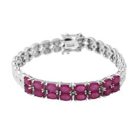 10.40 Ct African Ruby Tennis Design Bracelet in Rhodium Plated Silver 16.20 Grams 7 Inch