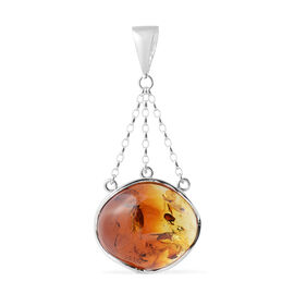 Baltic Amber (Ovl) Pendant in Sterling Silver, Silver wt 19.20 Gms