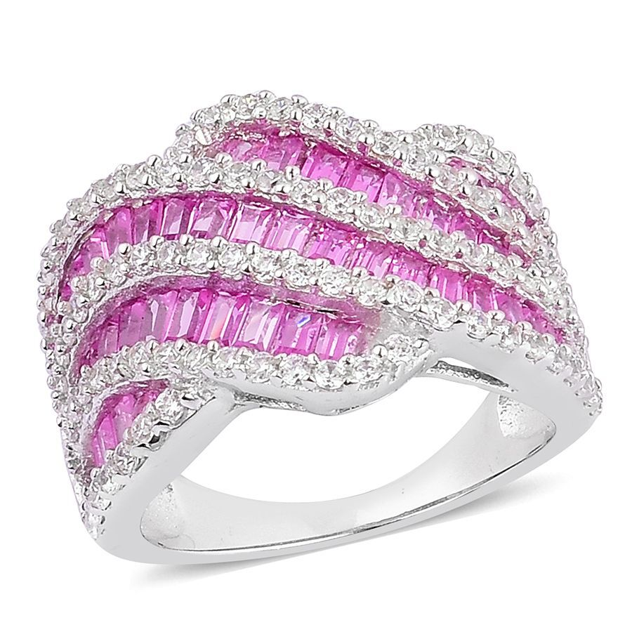 ELANZA AAA Simulated Ruby and Simulated White Diamond Ring in ...