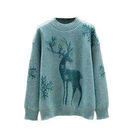 Kris Ana Christmas Reindeer Wool Mix Jumper One Size (8-16) - Blue