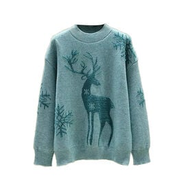 Kris Ana Christmas Reindeer Wool Mix Jumper One Size (8-16) - Teal Blue